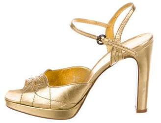 Miu Miu Metallic Ankle-Strap Sandals