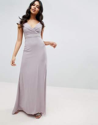 df90c50e124b4 TFNC Bardot Maxi Bridesmaid Dress With Fishtail and Embellished Waist