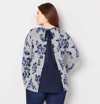 Avenue Blue Floral Split Back Hacci Top