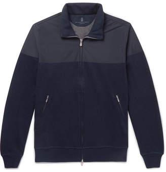 Brunello Cucinelli Shell and Cotton-Blend Jersey Zip-Up Sweatshirt