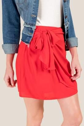 francesca's Amma Front Tie Mini Skirt - Red