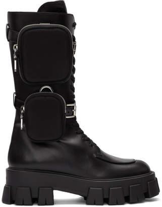 Prada Black Pocket Military Boots