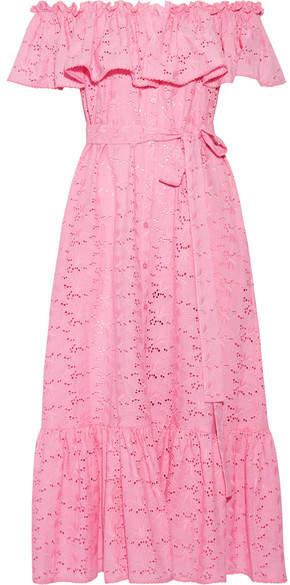 Lisa Marie Fernandez - Mira Off-the-shoulder Broderie Anglaise Cotton Maxi Dress - Pink