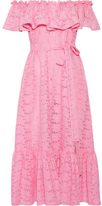 Lisa Marie Fernandez - Mira Off-the-shoulder Broderie Anglaise Cotton Maxi Dress - Pink $875 thestylecure.com