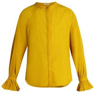 Bliss And Mischief - Ruffled Cuff Poplin Blouse - Womens - Yellow