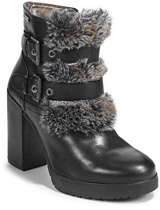 Bugatti Alessa Faux Fur-Trimmed Leather Booties