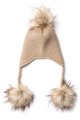 d0945e56c54 Triple Faux Fur Pom Knit Trapper Hat