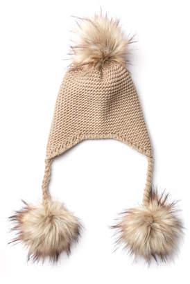 4ddd6cb2239 Triple Faux Fur Pom Knit Trapper Hat