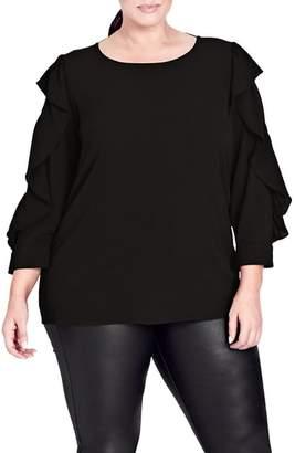 City Chic Ruffle Sleeve Button Back Shirt