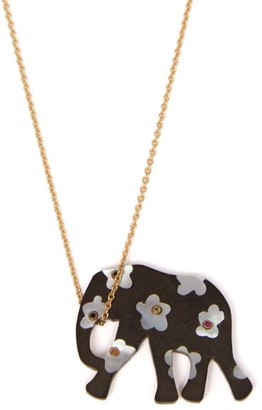 Marc Alary Elephant 18kt Gold, Ebony & Sapphire Necklace - Womens - Black Multi