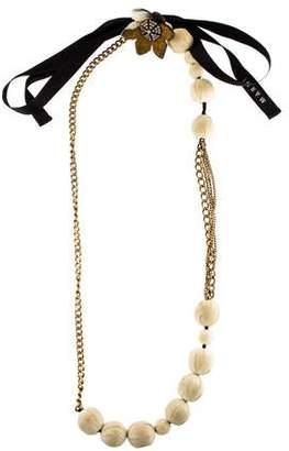 Marni Horn Flower, Crystal & Chain Necklace