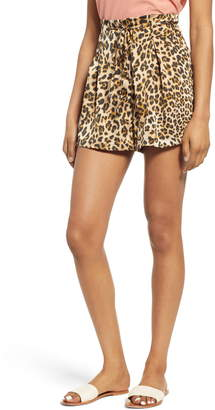 Moon River High Tie Waist Leopard Print Shorts