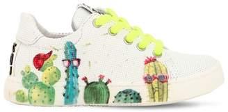 Be Kool Cactus Printed Leather Sneakers