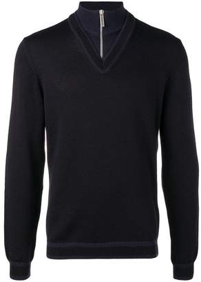 Dirk Bikkembergs quarter zip chevron sweater