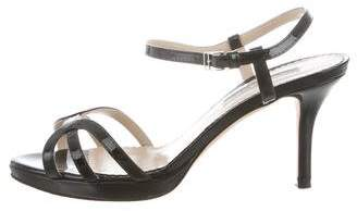 Oscar de la Renta Patent Leather Ankle Strap Sandals