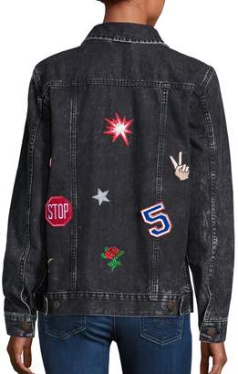 Logophile Appliqued Denim Jacket