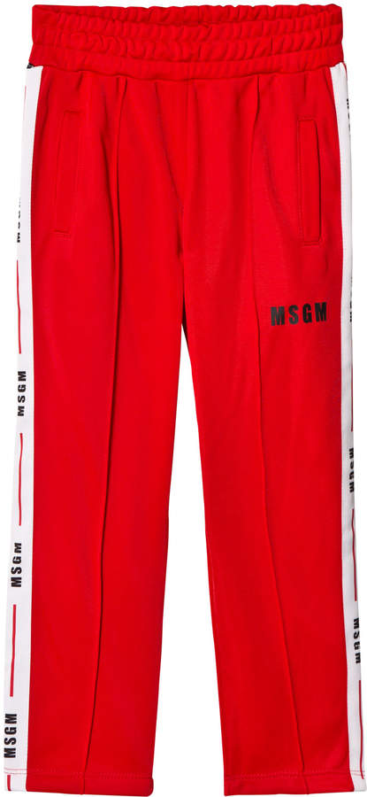 Msgm Red Logo Side Stripe Track Pants