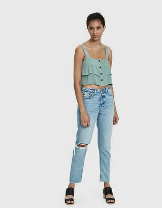 Farrow Evie Button-Front Crop Top in Sage