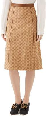 Gucci Canvas Leather-Piped Skirt