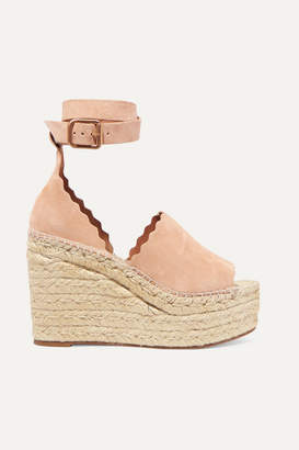 Chloé Lauren Scalloped Suede Espadrille Wedge Sandals - Beige