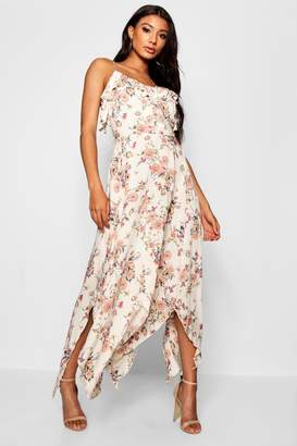 boohoo Button Detail Floral Woven Maxi Dress
