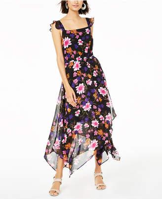 Bar III Floral-Print Open-Back Dress