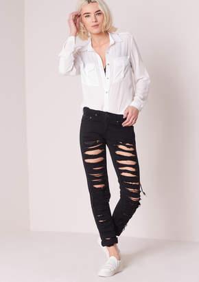 ff0707634337 Missy Empire Missyempire Aaliyah Black Ripped Skinny Jeans