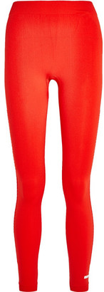 Adidas by Stella McCartney - Climalite Honeycomb Mesh-paneled Stretch-jersey Leggings - Red $85 thestylecure.com