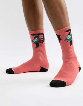 Primitive Skateboarding rose logo socks in orange