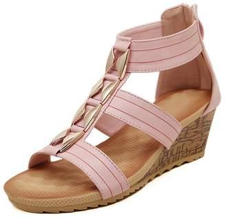 Katypeny Women's Gold Chain Ankle Strap Mid High Heel Wedge Open Toe Back Zipper Summer Sandals 7.5 M US
