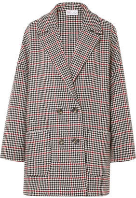 RED Valentino Oversized Houndstooth Tweed Coat - Black