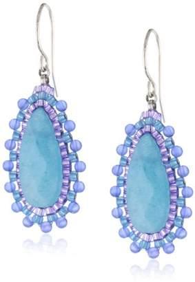 Miguel Ases Sterling Silver Blue Quartz Small Tear Drop Earrings