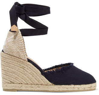 Castaner Carina Frayed Canvas Wedge Espadrilles - Dark denim