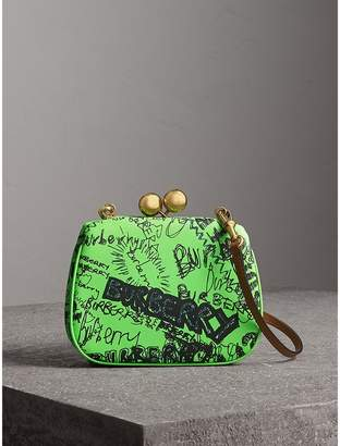 Burberry Small Doodle Print Leather Metal Frame Clutch Bag