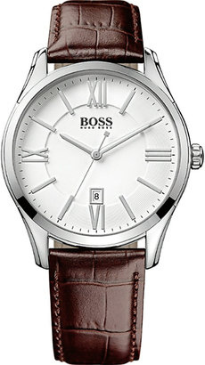 Hugo Boss 1513021 ambassador watch with leather strap $163 thestylecure.com