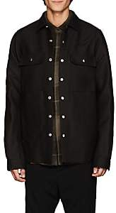 Rick Owens Men's Wool-Silk Canvas Shirt Jacket - Black