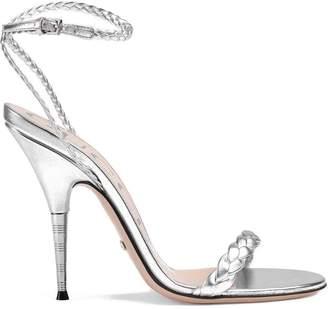 Gucci Braided metallic leather sandals