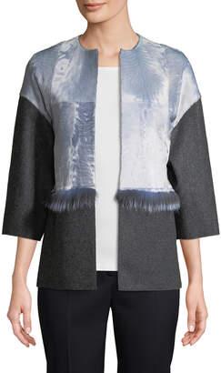 Carolina Herrera Women's Collarless Fur-Trim Jacket