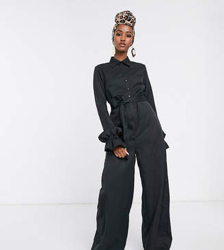 Verona wide leg jumpsuit with belted waist in black