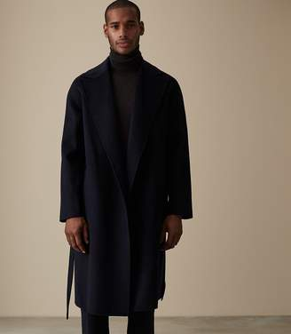 Reiss VINCENT WOOL BELTED OVERCOAT Navy
