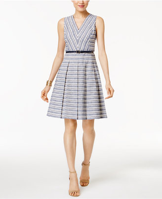 Tommy Hilfiger Belted Striped Fit & Flare Dress $129 thestylecure.com