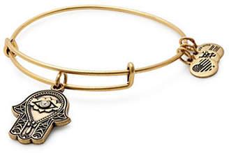 Alex and Ani Swarovski Crystal Gold Flash Hand of Fatima Charm Bangle Bracelet