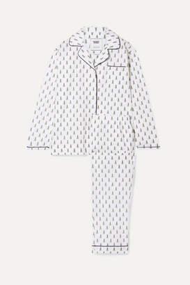 Sleepy Jones Bishop Printed Cotton-poplin Pajama Set - White