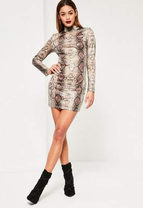 Missguided Nude Snake Sequin Bodycon Dress, Animal