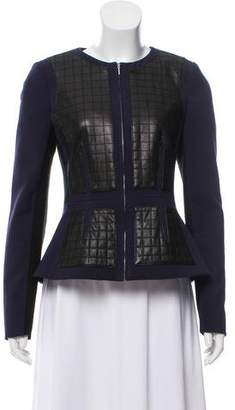 Rebecca Taylor Leather-Accented Quilted Zip-Up Jacket