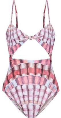Mara Hoffman Knotted Cutout Printed Swimsuit