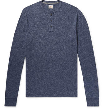 Faherty Mélange Organic Cotton-Blend Jersey Henley T-Shirt