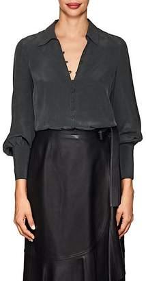 L'Agence Women's Naomi Washed Silk Blouse - Black