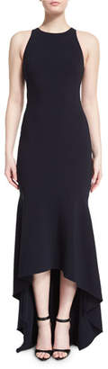 Theia Sleeveless Open-Back High-Low Gown, Midnight $895 thestylecure.com