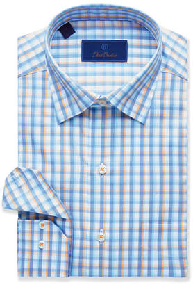 David Donahue Men's Grid-Pattern Sport Shirt, Blue